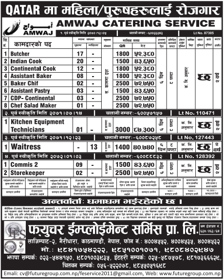 Jobs For Nepali In Qatar, Salary -Rs.72,750/