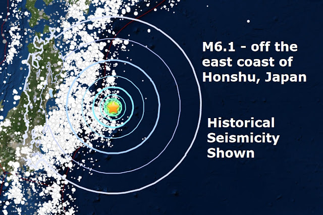 A mag 6.1 - off the east coast of Honshu, Japan & New Zealand Naamloos