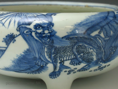 "<img src=""Chinese kangxi incense burner.jpg"" alt=""blue and white burner detail of foo lions"">"
