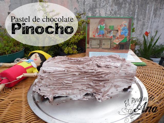 Pastel tronco para Pinocho