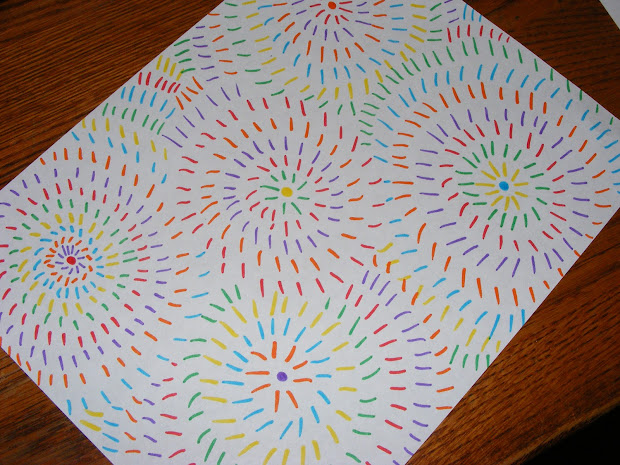 Ten Kids And Dog Easy Art-firework Drawings