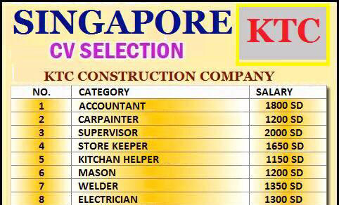 Singapore Interviews - Wanted For KTC Construction Company