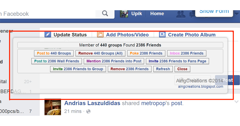 Multi Tool Facebook, hanya dengan dengan memasukkan script ke console browser