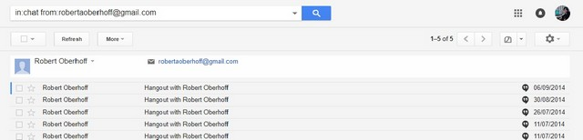 chat conversation search inside email using inchat