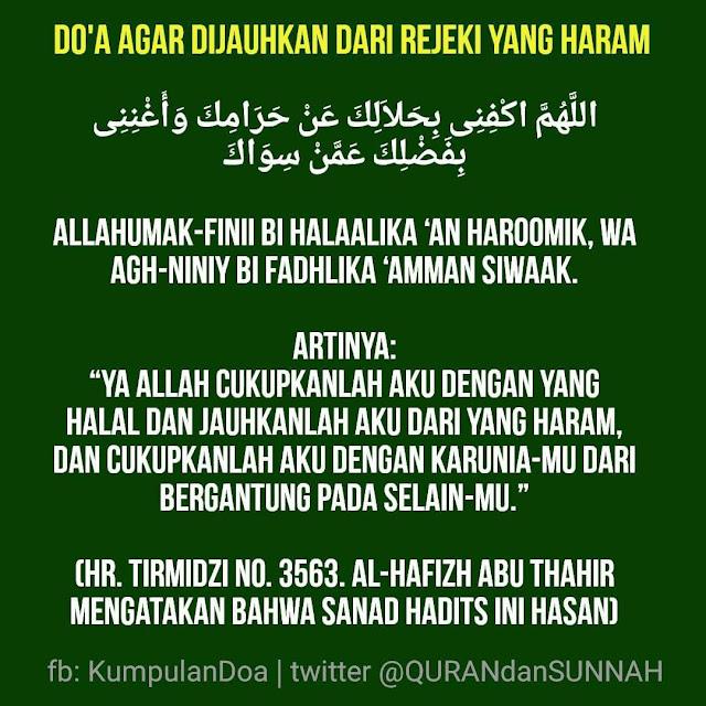 Do'a agar Dijauhkan dari yang Haram