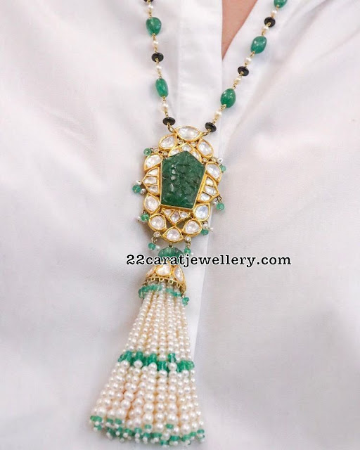 Polki Diamond Pendant with Emerald Beads