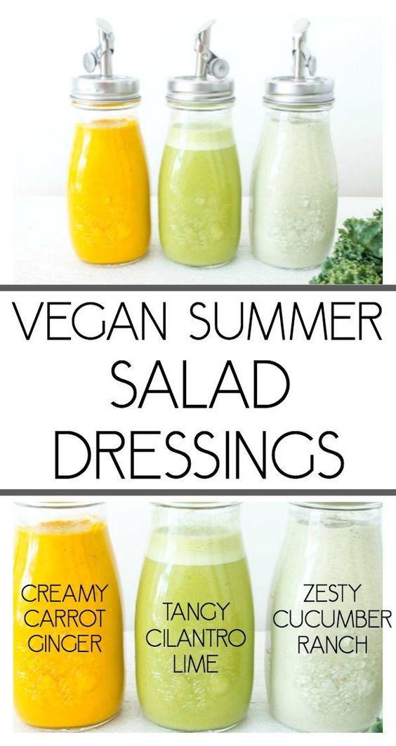 three vegan summer salad dressings