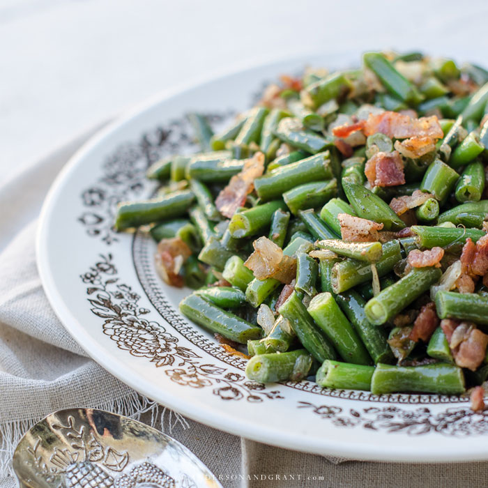 This year, add extra flavor to your Thanksgiving side dish of green beans with bacon and onions.  |  www.andersonandgrant.com