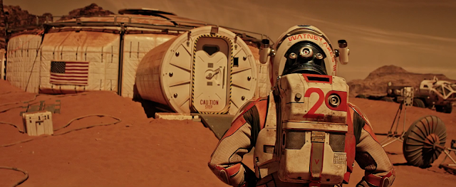 Matt Damon at Mars base image from The Martian movie