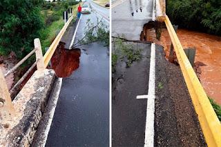 Chuvas danificam ponte