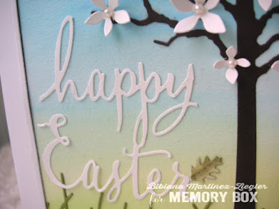 watercolor easter scene with memory box dies detail