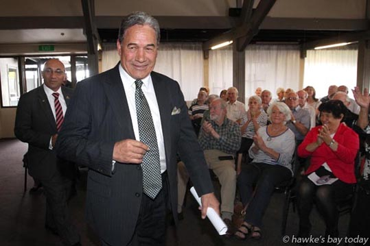 L-R: Ron Mark, deputy leader, Winston Peters, leader, New Zealand First, walking into a public meeting at Bev Ridges on York, Tamatea, Napier. photograph