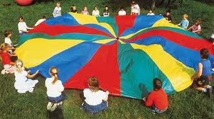 Parachute on Floor with Kids evenly spaced around edges