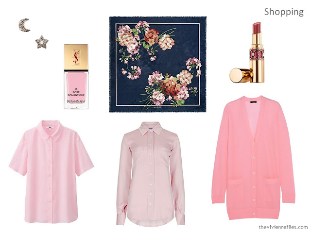 pink additions to a navy wardrobe