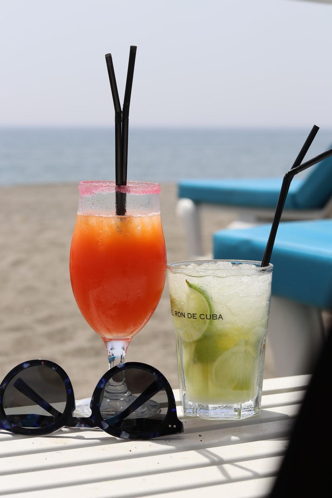 Cocktails at Chambao Beach Bar, Sotogrande, Spain
