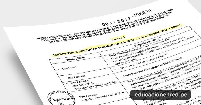 Descarga el Anexo 6 del Decreto Supremo N° 001-2017-MINEDU (Requisitos Contratación Docente)