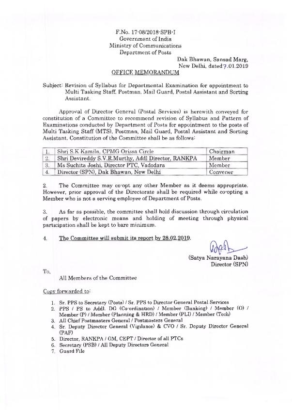 Revision of Syllabus for Departmental Examination