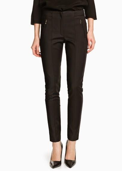 46e5c33bf O segundo par de calças que escolhi têm a cintura descida, um corte  sofisticado, o detalhe dos fechos prateados e o acabamento em pele permite  um look ...