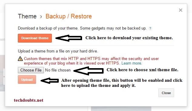 How to backup and upload theme in blogger
