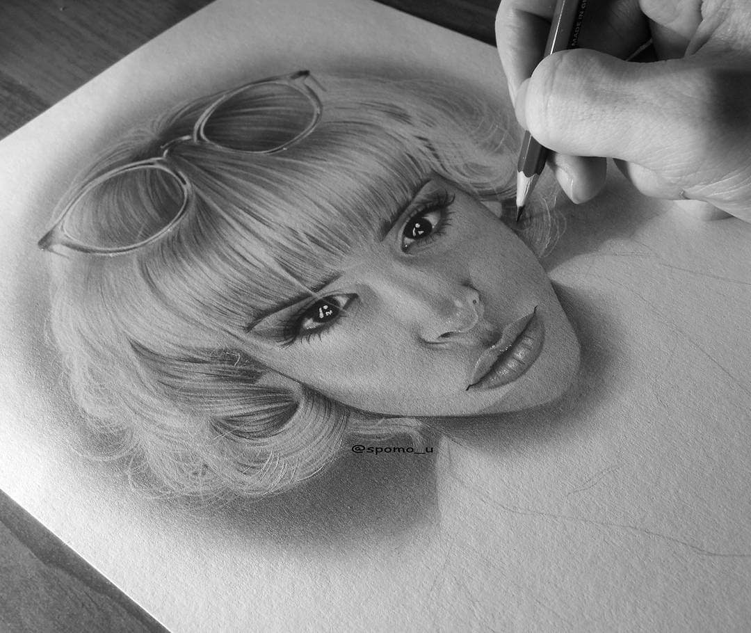 12-WIP 2-Spomo-Ubiparipović-Black-and-White-Celebrity-Pencil-Portraits