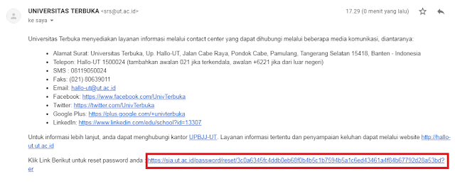 Cara Reset Password Akun SIA UT