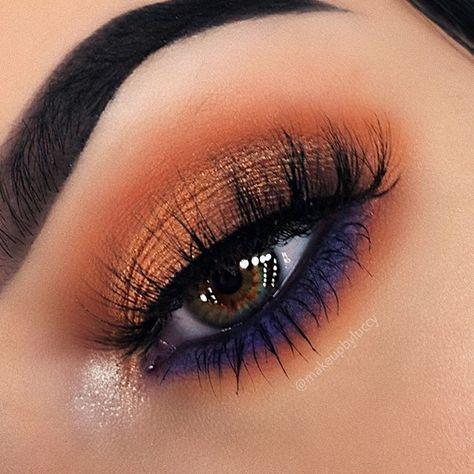 make-up summer look orange and purple