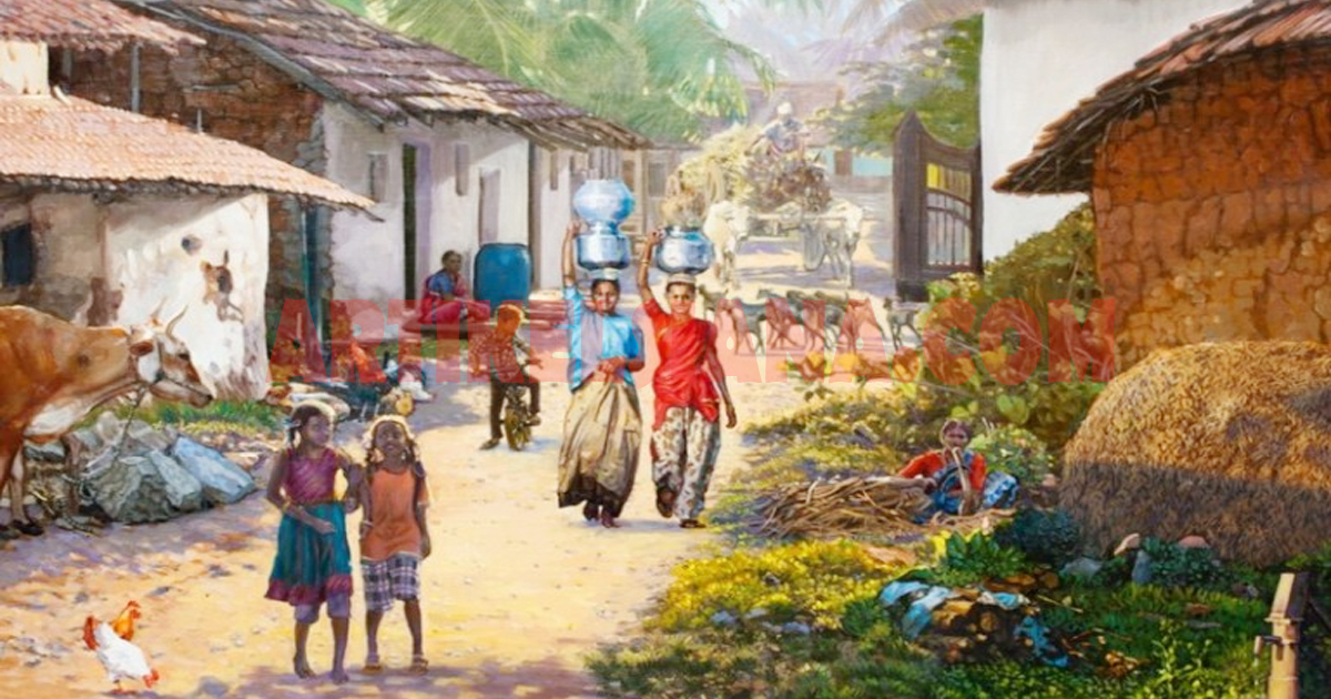 Lukisan pemandangan rumah kampung indah