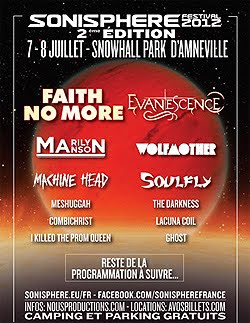 Faith No More, Evanescence o Marilyn Manson al Sonisphere de Francia