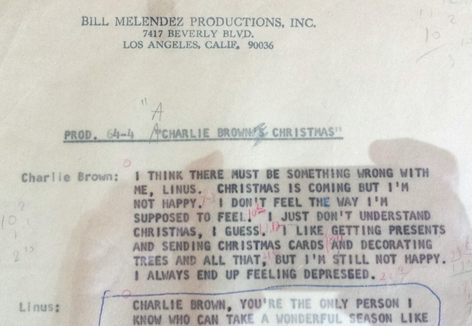 i got to see the magic box whose contents i didnt touch and an employee handled with white gloves inside were strips schulz drew for an abandoned series - A Charlie Brown Christmas Script