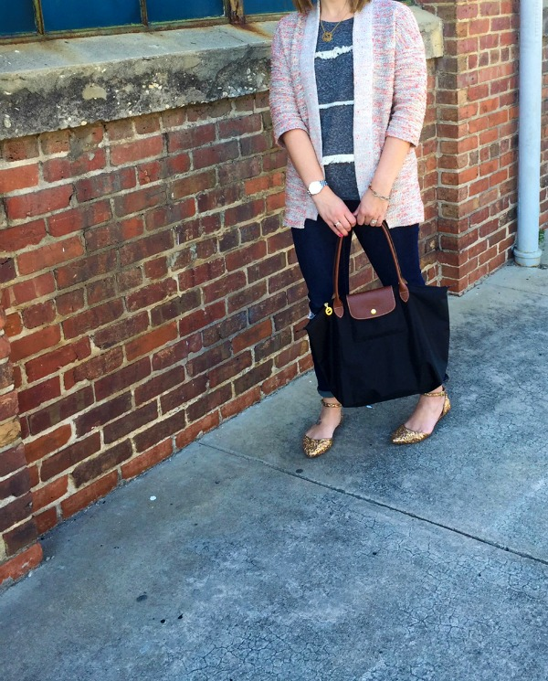 old navy cardigan, longchamp, mom style