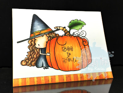 Tiddly Inks, Kecia Waters, Copic markers, Halloween, pumpkin, witch