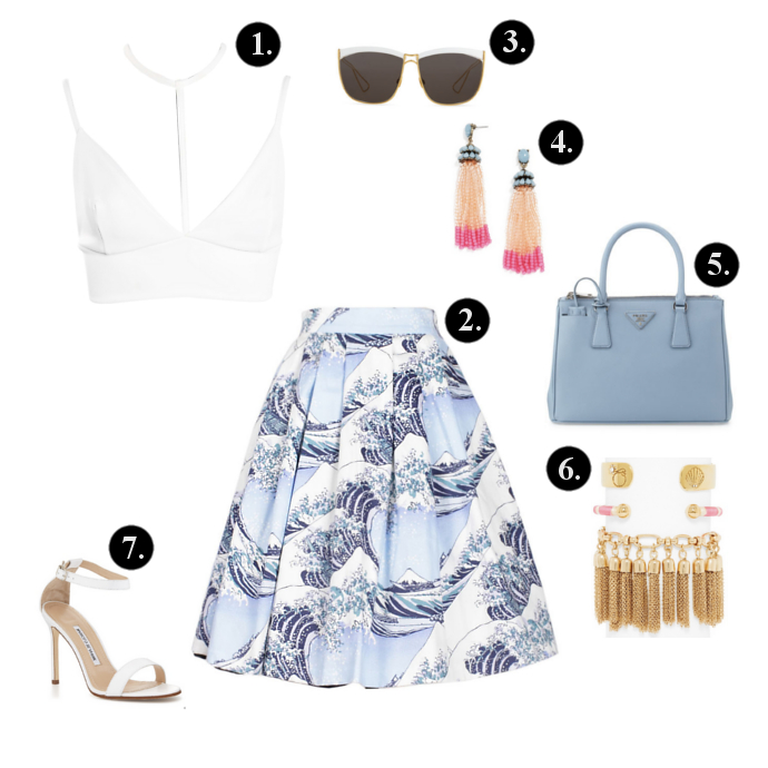 Midi Skirt outfits, Midi Skirt outfit ideas, Boohoo Top, Oasap Skirt, Neiman Marcus Sunglasses, BaubleBar Earrings, Prada Bag, Manolo Blahnik Sandals