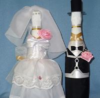 свадебное украшение бутылок шампанского