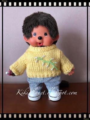 kiki monchhichi monchichi virkiki pull tricot handmade fait main knitting dolls clothes