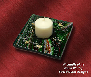 Finished candle plate in green Fusers Reserve