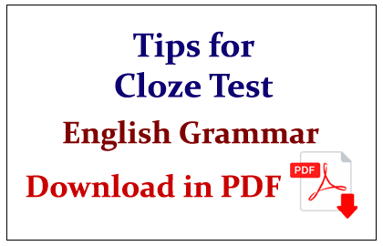 Tips for Cloze Test in English Question in PDF