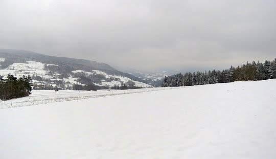 Obielone łąki i pola nad Glisnem.