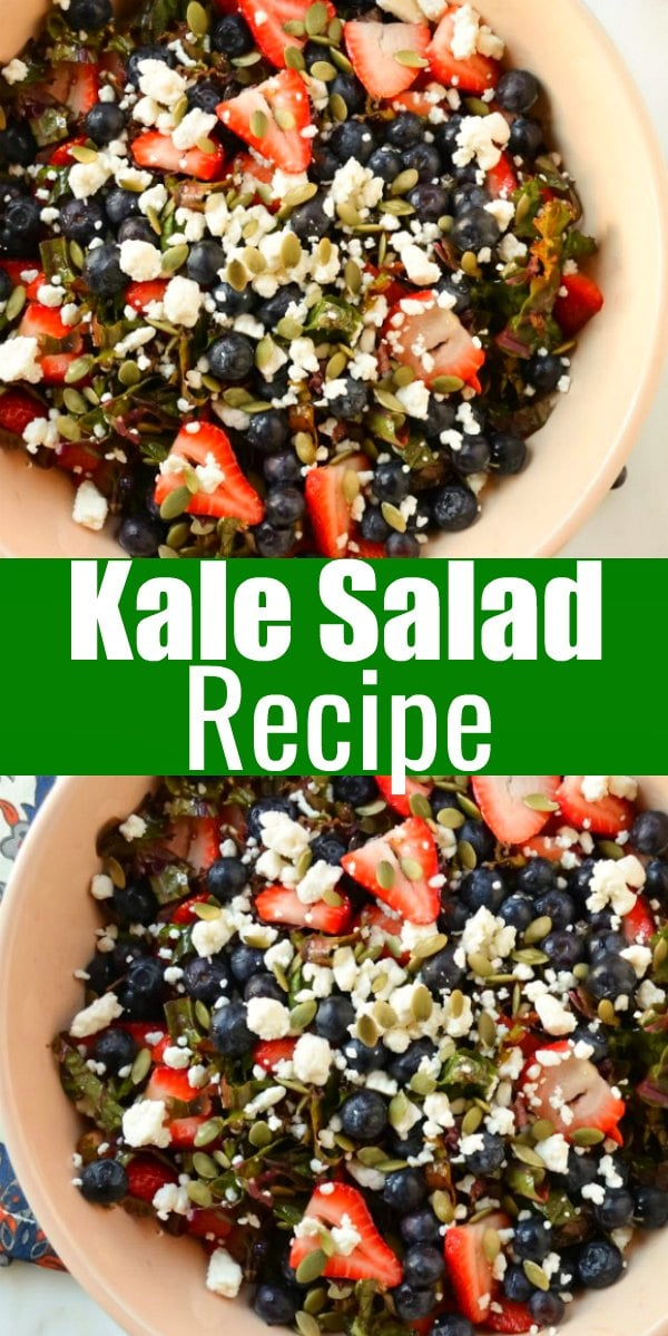 Kale Salad is so delicious filled with strawberries, blueberries, pepita pumpkin seeds, and feta. It's a delicious salad for Easter and an all time favorite Kale Salad from Serena Bakes Simply From Scratch.