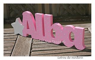 letras de madera infantiles para pared Alba con silueta de estrella babydelicatessen