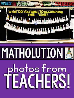 When I first made this Matholution pennant, I really didn't expect to see it hanging in so many classrooms with so many thoughtful and inspiring New Year math resolutions. Throughout January of that first year, as the photos kept rolling in, my heart grew fuller and fuller. This year, I added a digital version in Google Slides. When you open the PDF, the link to the digital version will be inside.