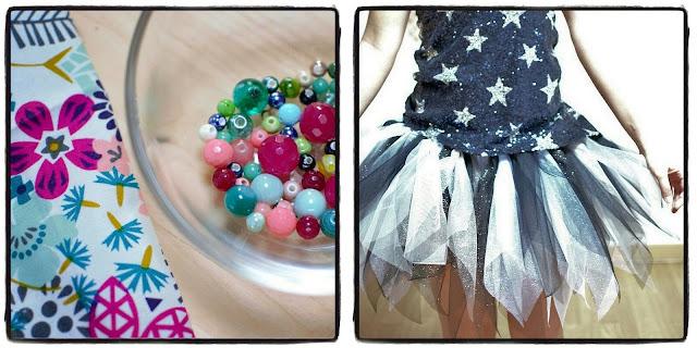 tissu fleuri, perles colorées et tutu à paillettes