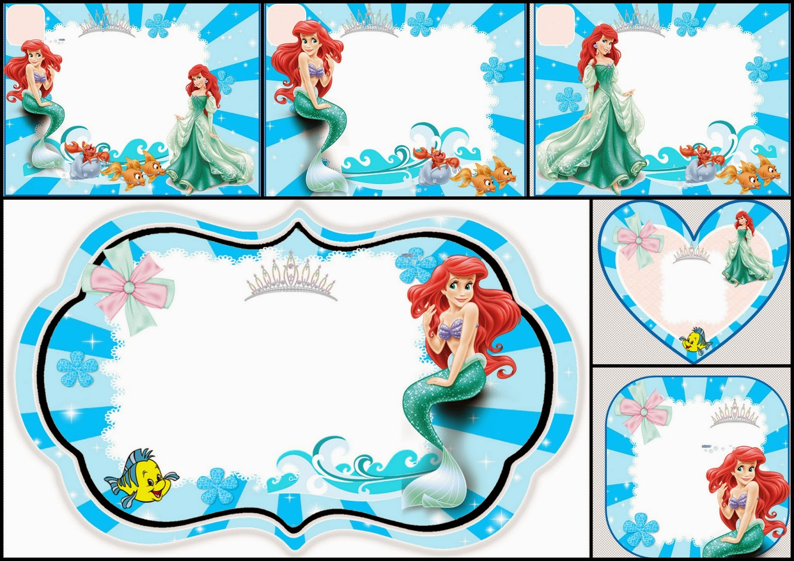 The Little Mermaid Free Printable Invitations, Cards or Photo Frames.