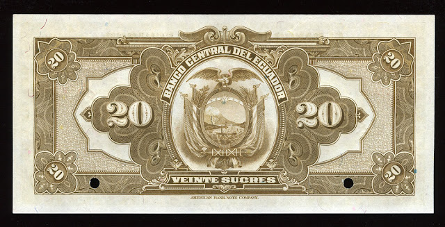 Billete Ecuador veinte Sucres