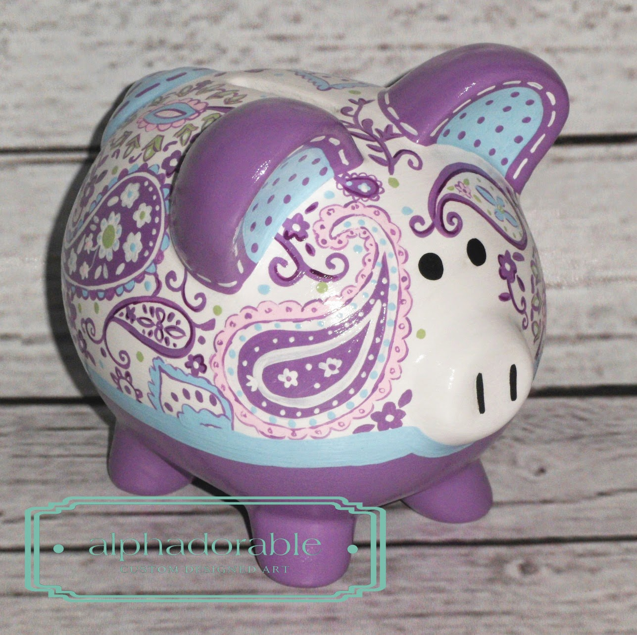 Alphadorable Custom Piggy Bank To Coordinate With The