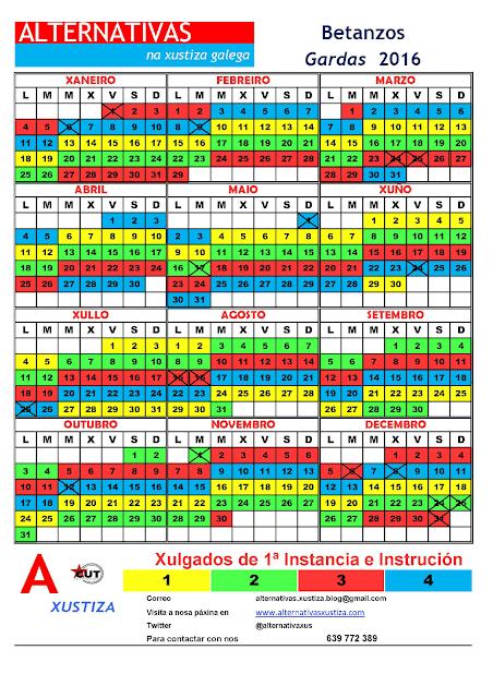 Betanzos. Calendario de gardas 2016