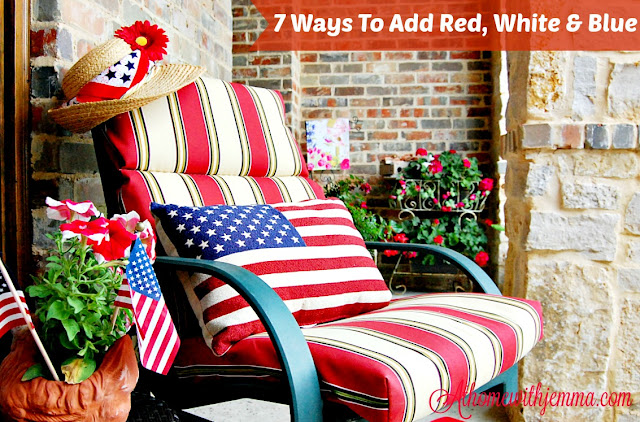 Red, white, blue decor for Memorial Day, 4th of July, Patriotic decorating