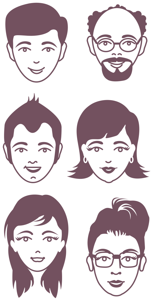 Psd Vector Eps Jpg Download: Male And Female Avatar Vector Faces PSD