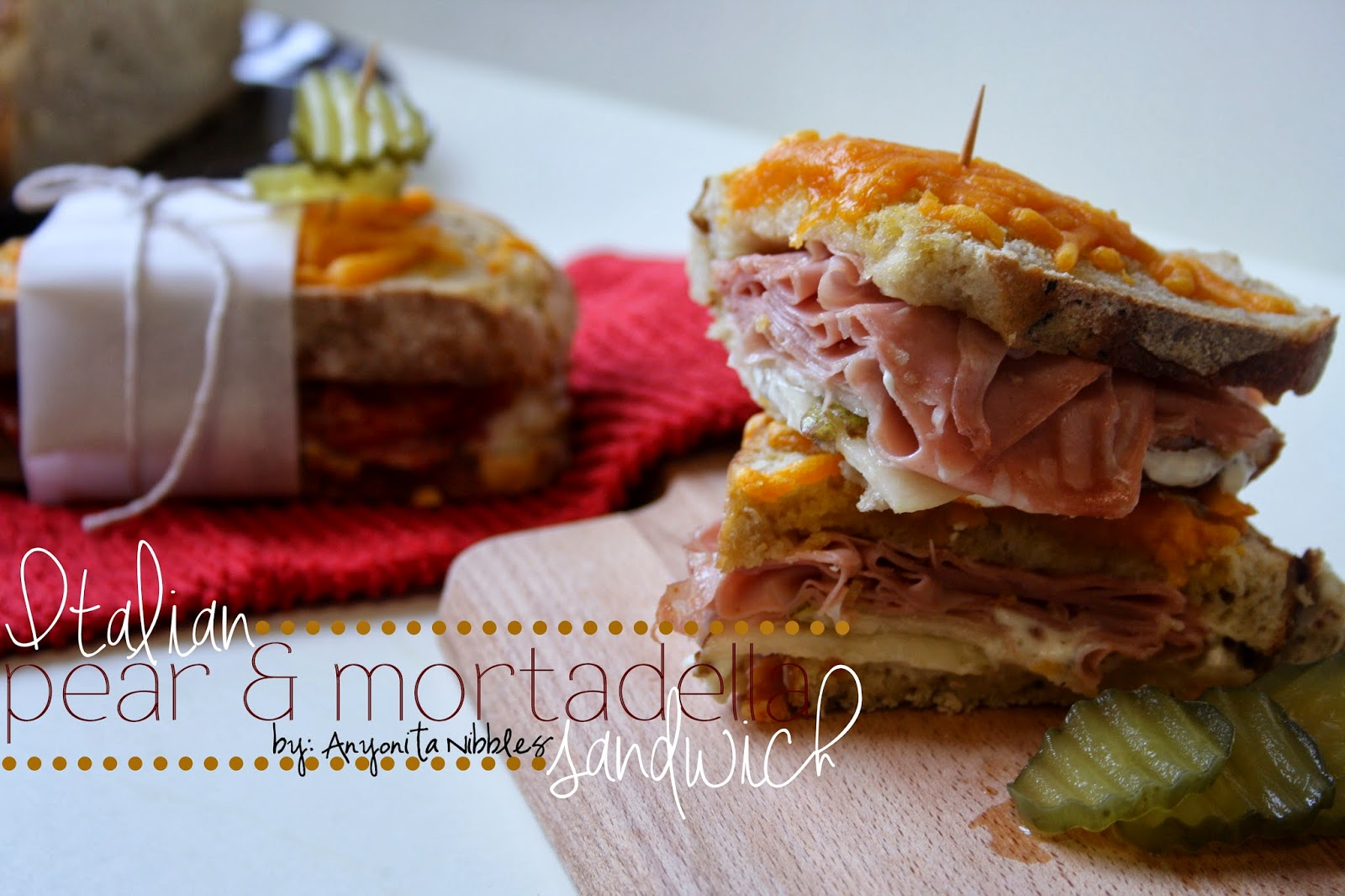 Italian Pear & Mortadella Sandwiches | Anyonita Nibbles | Her husband said this was the best sandwich he's had in a long time!