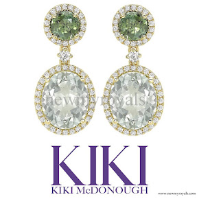 Kate Middleton KIKI McDonough Green Tourmaline and Green Amethyst Oval Drop Earrings