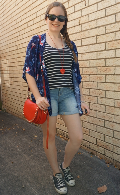 print mixing summer striped tank kimono denim short outfit with rebecca minkoff saddle bag | away from blue